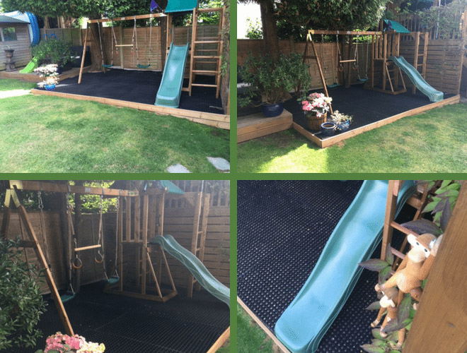 Rubber Grass Mats Installed Under Play Area