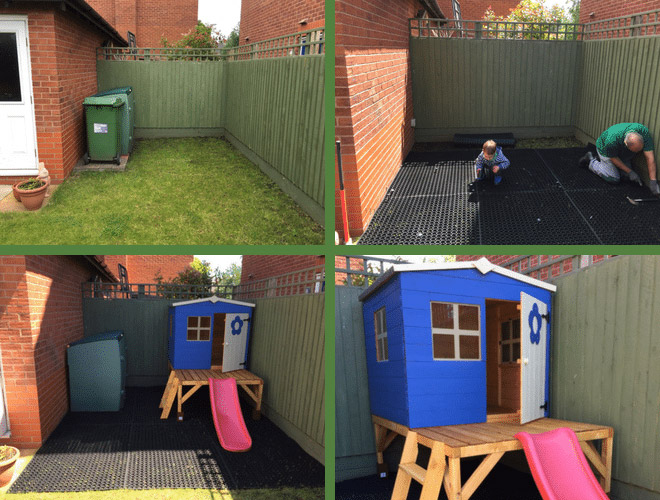 Rubber Grass Mats Installed Under Play House