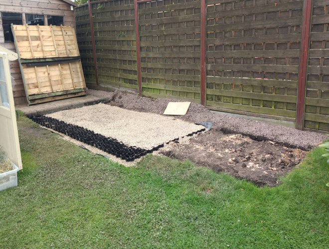Plastic Shed Base Used Under a Rabbit Kennel And Run Project