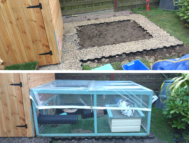 Plastic Shed Base Used Under a Rabbit Kennel And Run Work