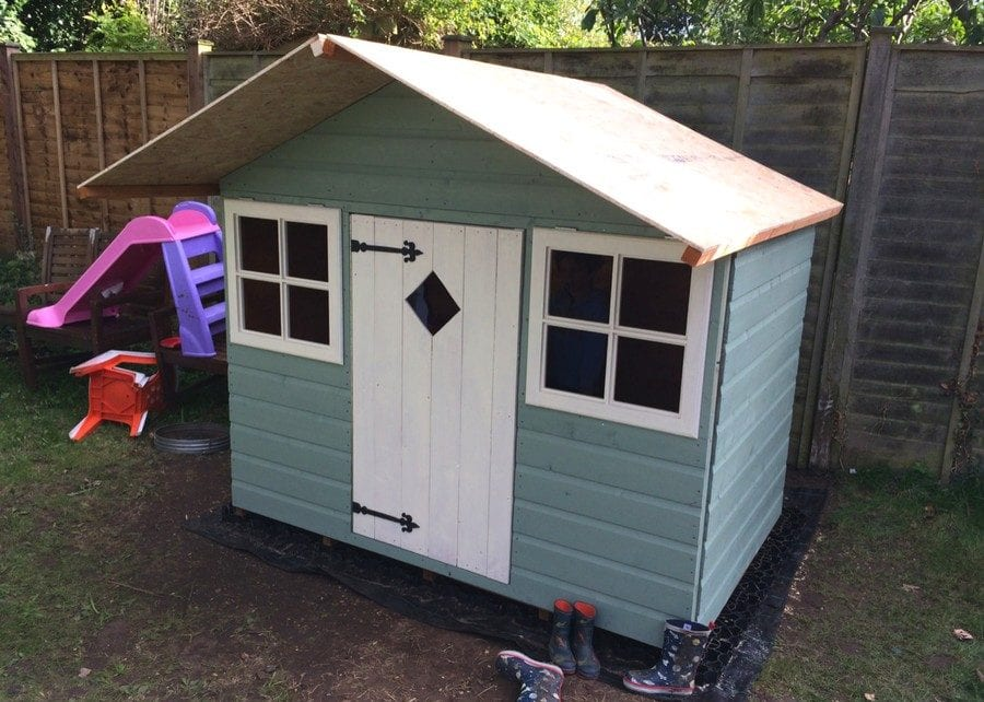 Wooden Playhouse On Plastic Playhouse Base Featured Image