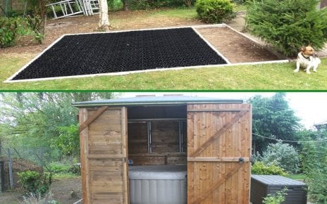 10ft x 10ft Shed with Inflatable Hot Tub Inside Featured Image