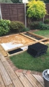 6ft x 4ft Plastic Shed Base Under Decking And Hot Tub Project