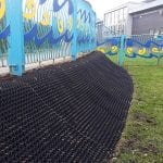 Rubber Grass Mats Covering A Soil Bank - Featured Image