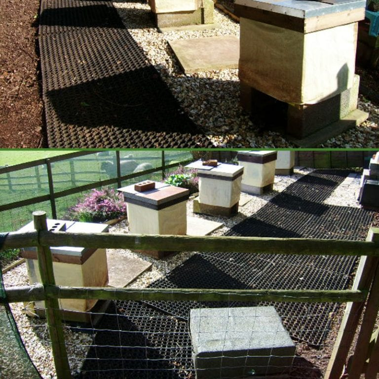 Rubber Grass Mats Around Bee Hive