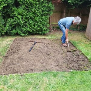 7ft x 7ft Hot Tub Base Installed Under A Riptide Hot Tub -Digging Out Soil and Turf