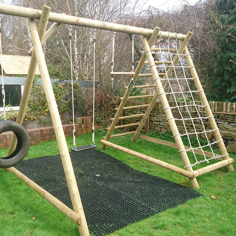 Rubber Grass Mats Installed Under A Caledonia Play Swing Set - Conclusion