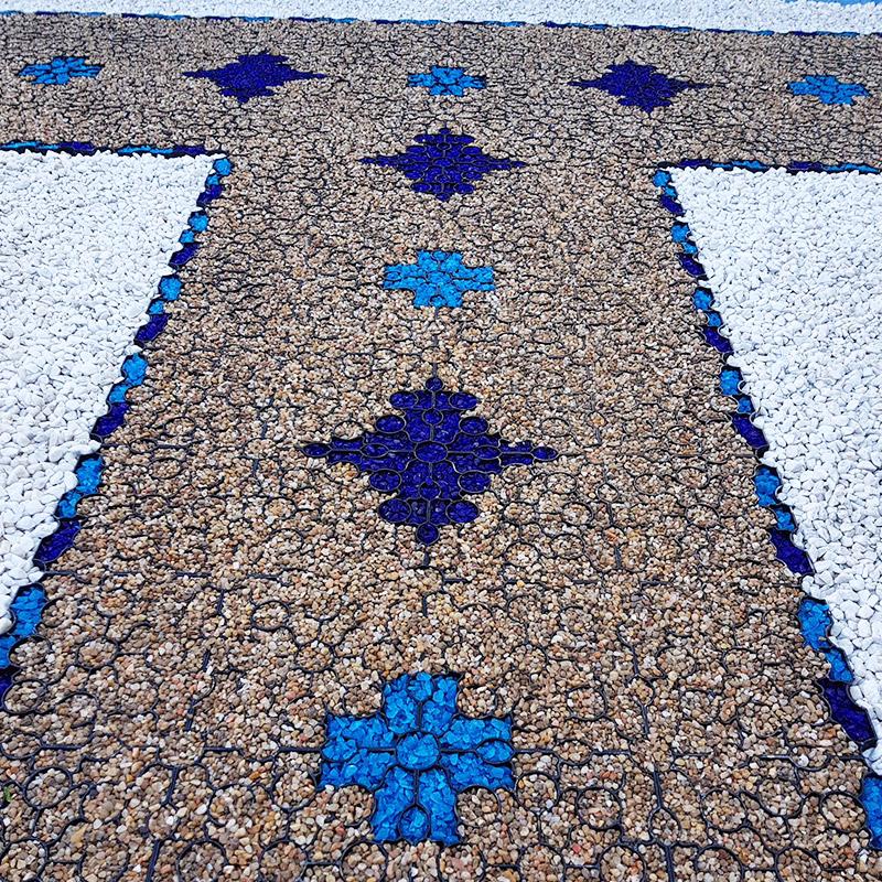 Black X-Grid Used To Create Multicoloured Gravel Path - Image 4