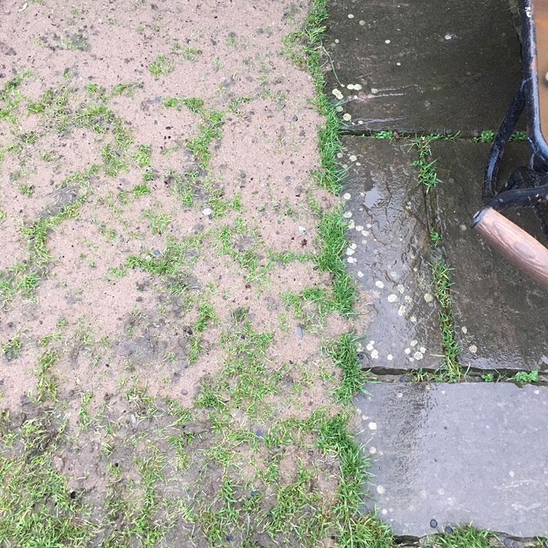 Rubber Grass Mats Installed on a Back Garden - Before