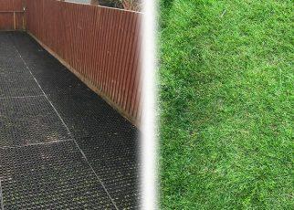 Rubber Grass Mats Installed on a Back Garden - Featured Image