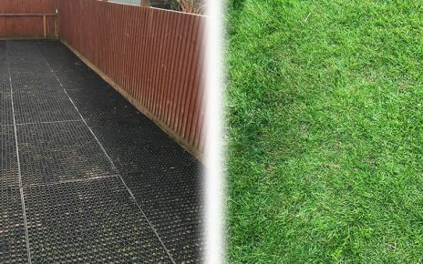 Rubber Grass Mats Installed on a Back Garden - Featured Image