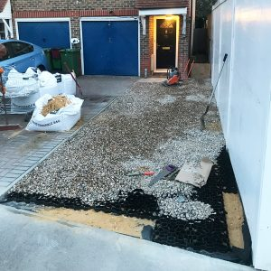 Gravel Driveway Installation - X-Grid Laid & Being Filled