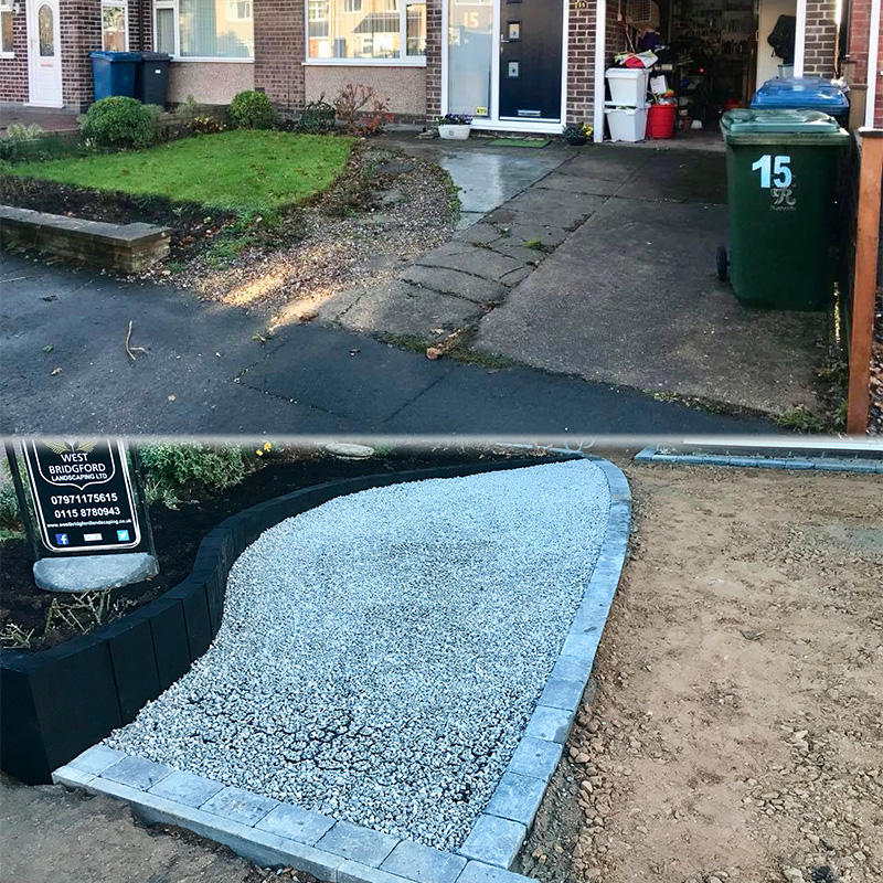 Grey X-Grid Gravel Driveway - Project One - Image One