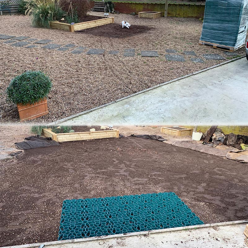 Gravel Driveway Created Using 33m2 of Green X-Grid - Project