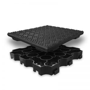 Hot Tub Base Panel With Non-Slip Rubber Tile