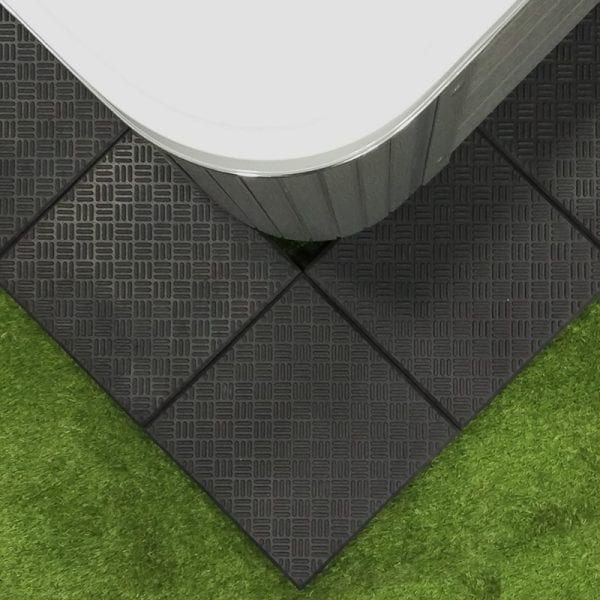 Installed Hot Tub Base With Non-Slip Rubber Tiles