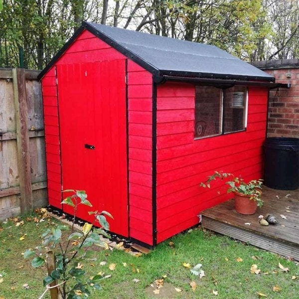 8ft x 6ft Plastic Shed Base With Red Shed