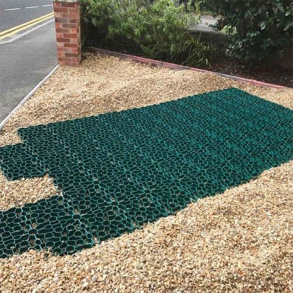 Green X Grid Gravel Driveway