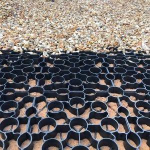 Laying Gravel Driveway Using Black X-Grid