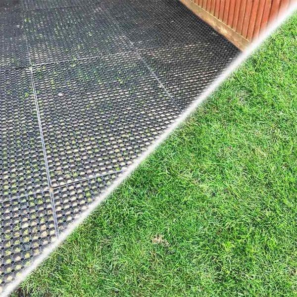 Rubber Grass Mats Reviving Turf On Back Garden