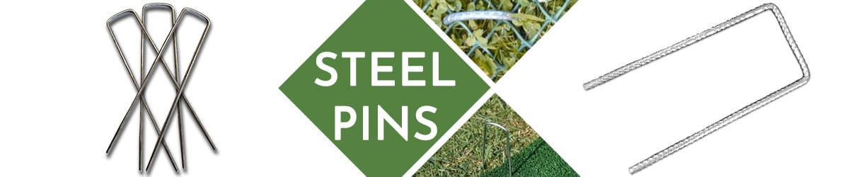 Steel pins for fixing ground reinforcement meshes and grids
