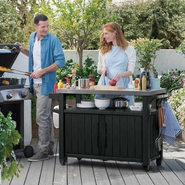 Keter BBQ Table Double - In Use
