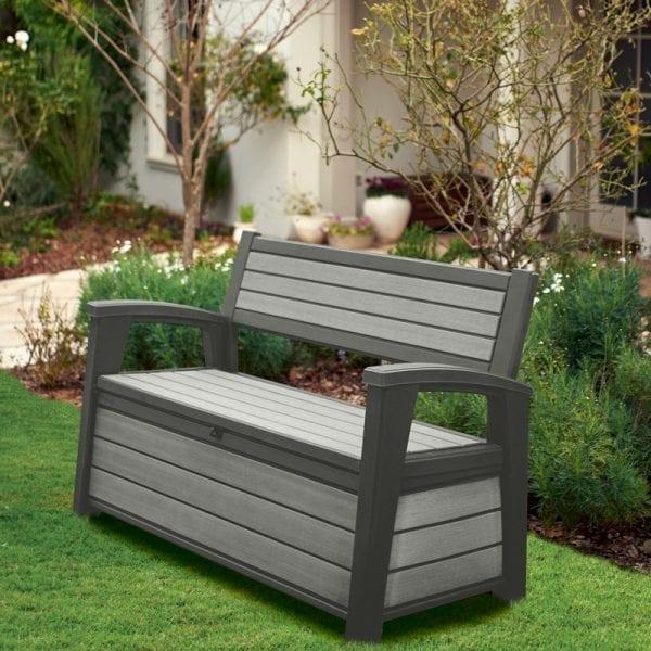 Keter Hudson Garden Storage Bench 227L Grey