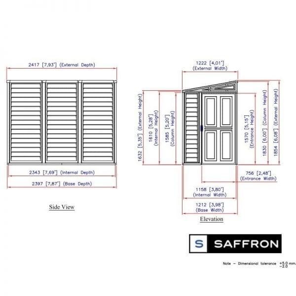 Lean To Plastic Shed - 4x8 Saffron-Dimensions