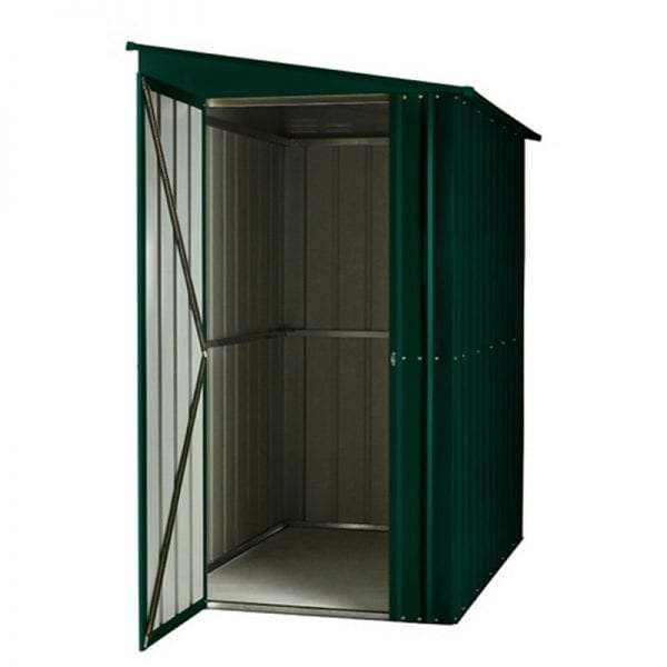 Lean To Shed - 4x6 Green Metal Lotus - Doors Open