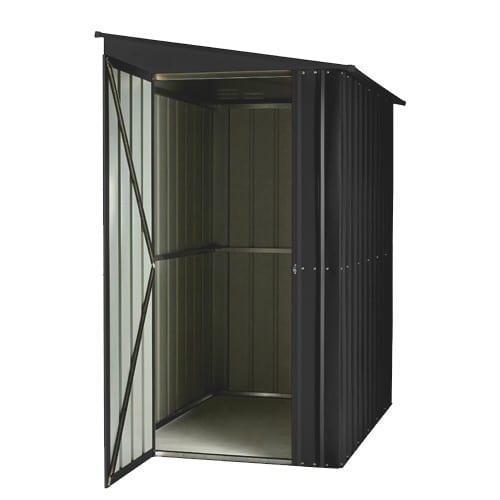 Lean To Shed - 4x8 Black Metal Lotus - Doors Open