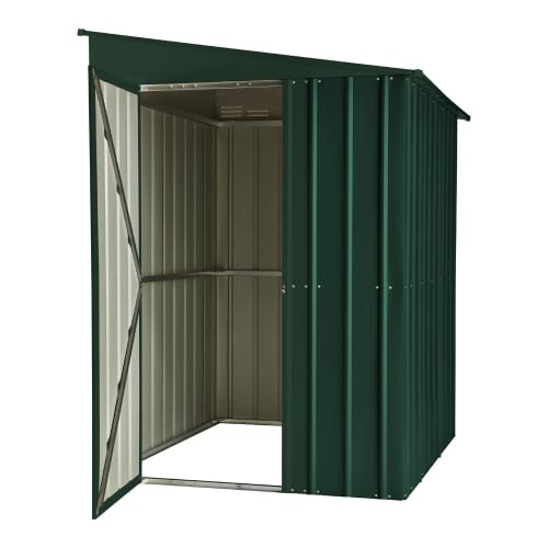 Lean To Shed - 5x8 Green Metal Lotus - Doors Open