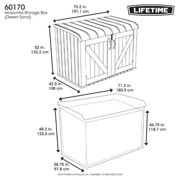 Lifetime 6'x3.5' Plastic Storage Box - Dimensions