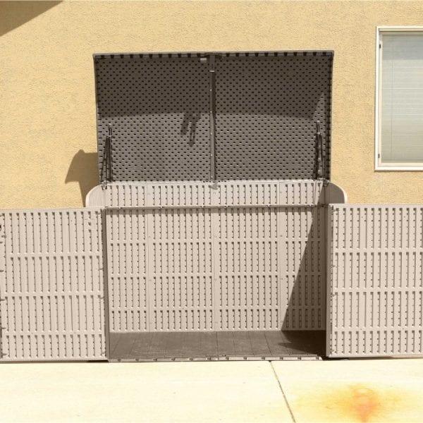 Lifetime 6'x3.5' Plastic Storage Box - Installed & Open