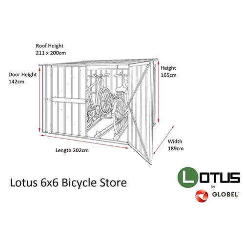 Metal Bike Store 6'x6' - Lotus Grey - Dimensions