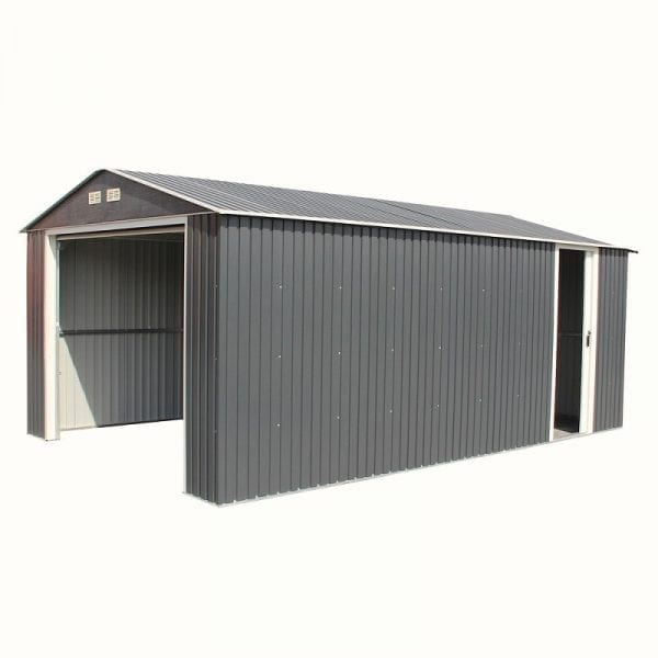 Metal Garage - Black Sapphire Garage - Product Image Doors Open