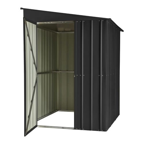 Metal Lean To Shed - 5x8 Black Lotus - Door Open