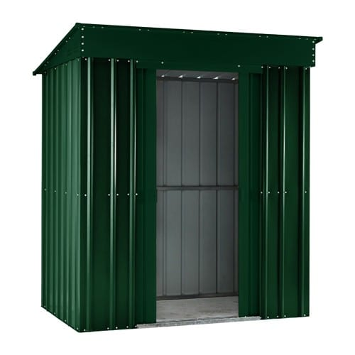 Metal Shed 5x3 - Green Lotus Pent- Doors Open