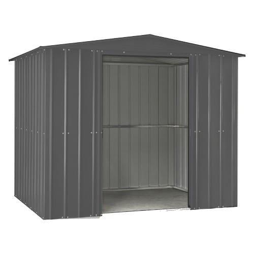 Metal Shed 8x3 - Black Lotus Apex - Doors Open