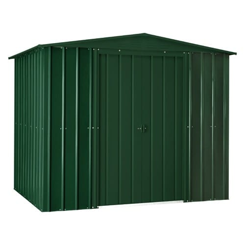 Metal Shed 8x3 - Green Lotus Apex - Doors Closed