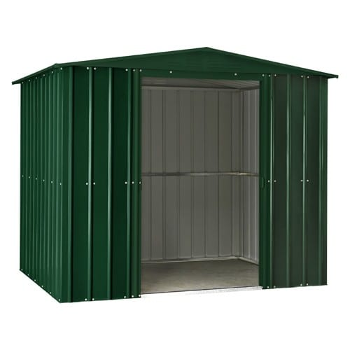 Metal Shed 8x3 - Green Lotus Apex - Doors Open