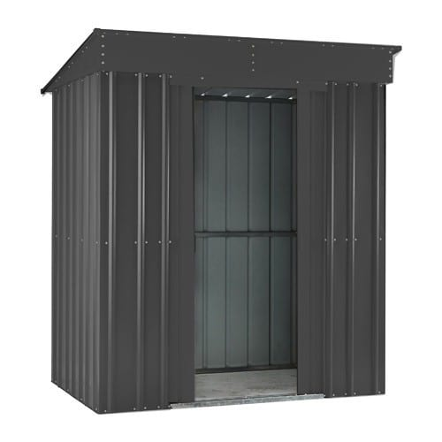 Metal Shed - 8x4 Black Pent Lotus - Doors Open