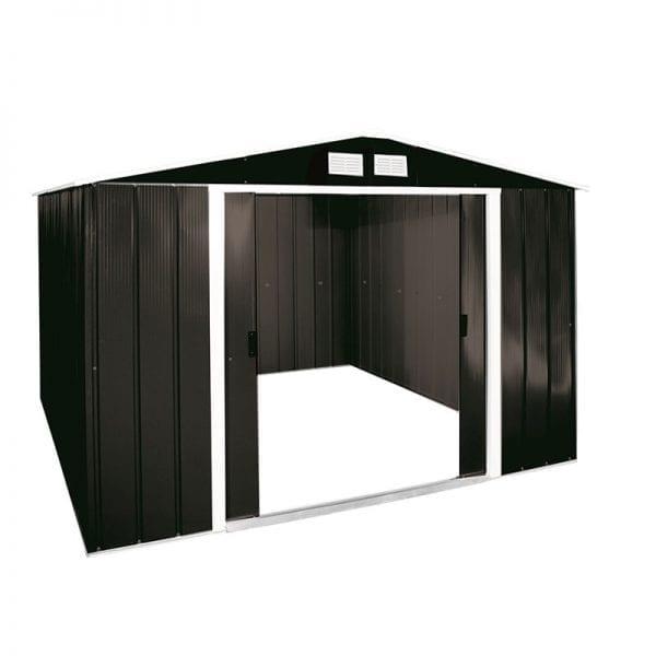 Metal Shed Black - 10x8 Sapphire - Doors Open