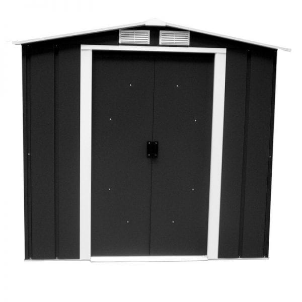 Metal Shed Black- 6ft x 4ft Sapphire - Doors Closed