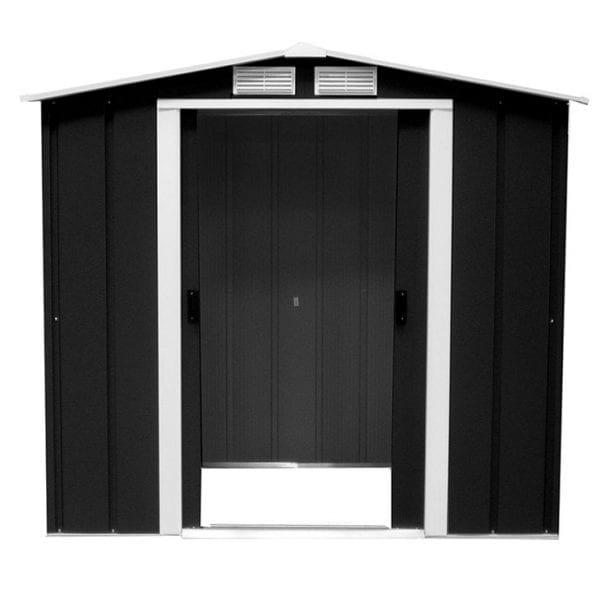 Metal Shed Black- 6ft x 4ft Sapphire - Doors Open