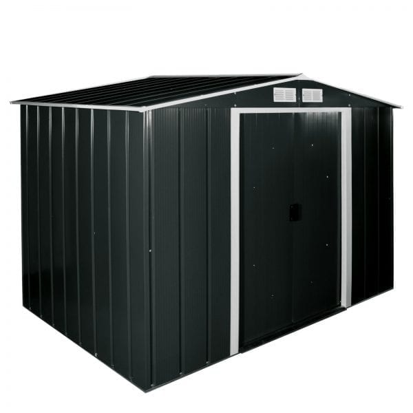 Metal Shed Black - 8ft x 6ft Sapphire - Closed Doors