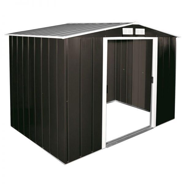 Metal Shed Black - 8ft x 6ft Sapphire - Open Doors