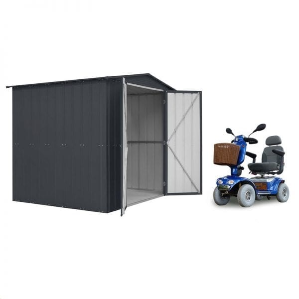 Metal Shed 8x6 - Double Door Black Lotus - Mobility Scooter Store