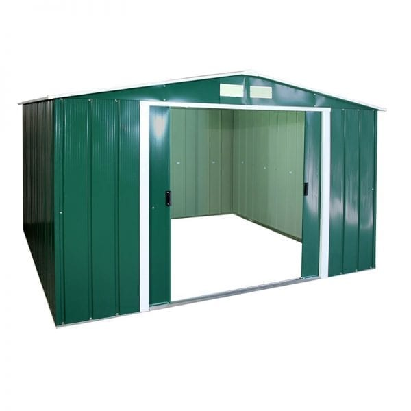 Metal Shed Green - 10x10 Sapphire - Doors Open