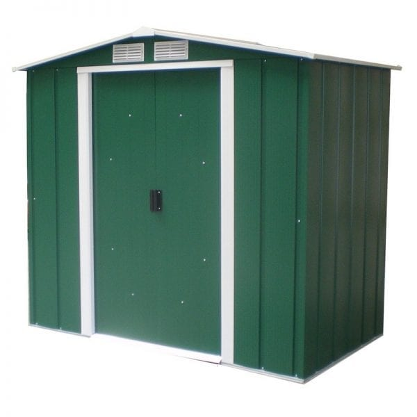 Metal Shed Green - 6ft x 4ft Sapphire - Door Closed