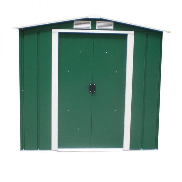 Metal Shed Green - 6ft x 4ft Sapphire - Door Closed1